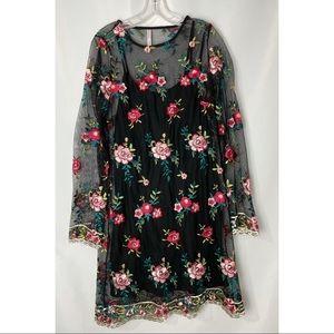 Xhilaration Women's Embroidered Mesh Shift Dress S
